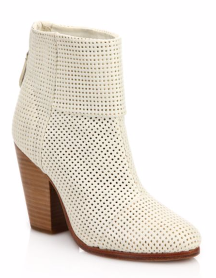 CLASSIC 'NEWBURY' PERFORATED WHITE LEATHER BOOTIES