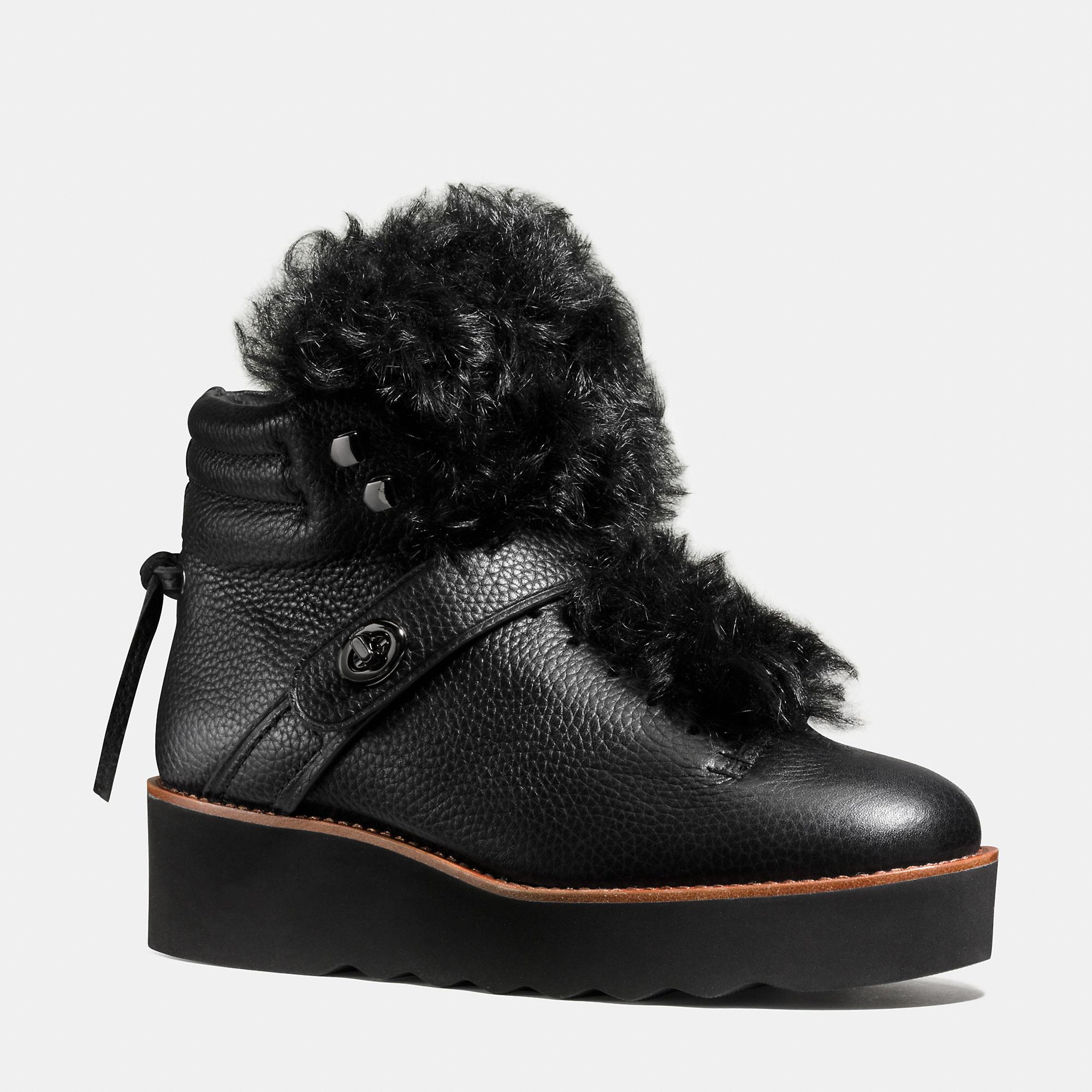 COACH BLACK URBAN HIKER BOOTS