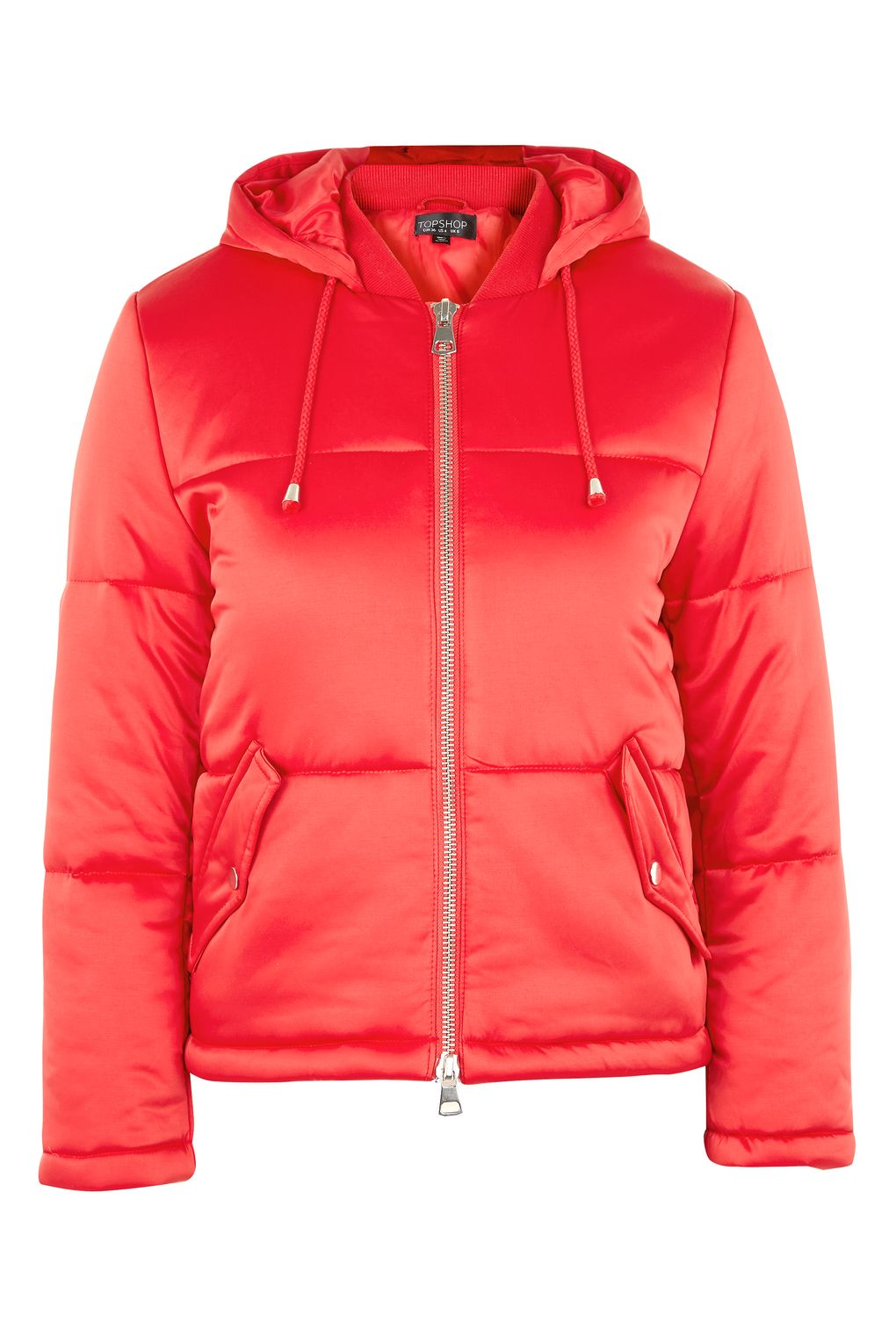 TOPHSOP QUILTED RED PUFFER JACKET