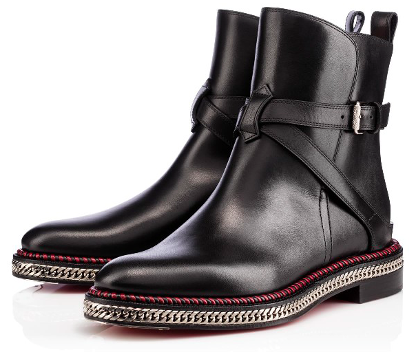 CHRISTIAN LOUBOUTIN BLACK LEATHER 'CHELSEA' ANKLE BOOTS