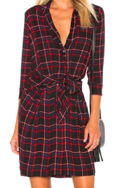 L'AGENCE 'KENDAL' RED PLAID DRESS