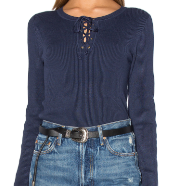 525 NAVY LACE UP SWEATER