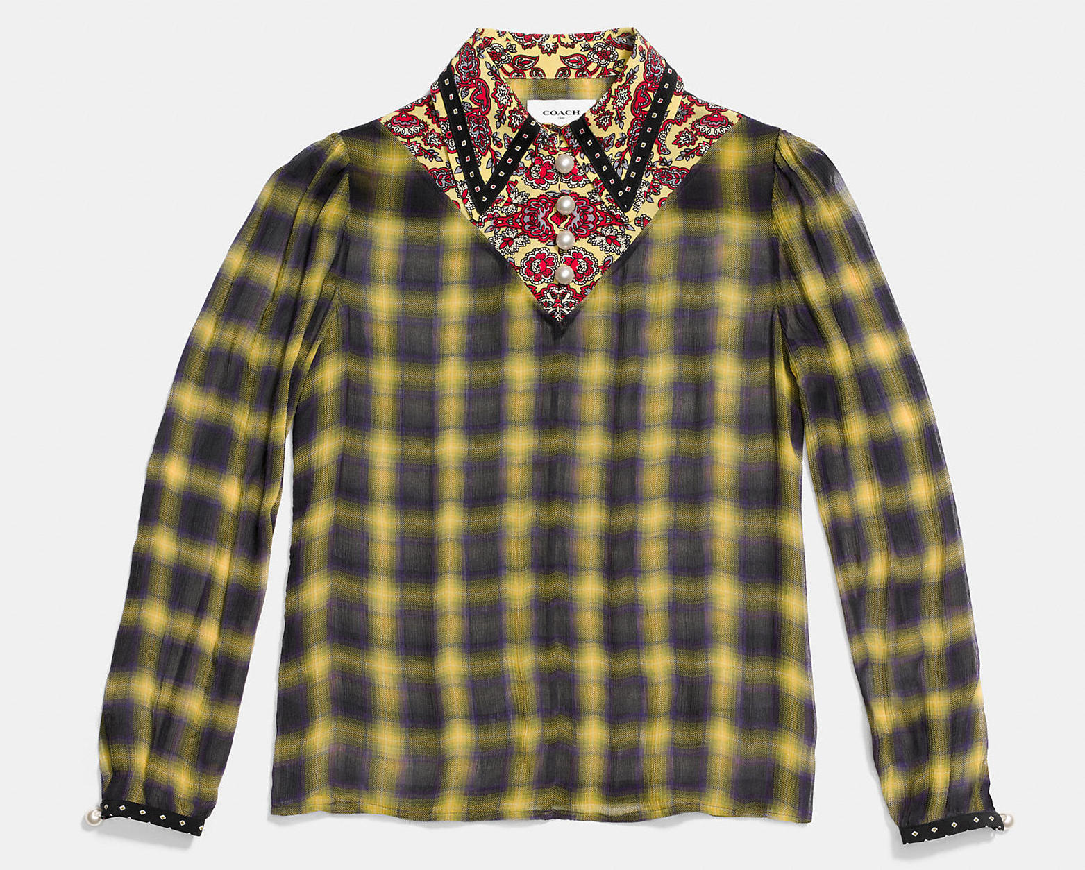 COACH PLAID BLOUSE WITH V CUT AND FRONT BUTTONS