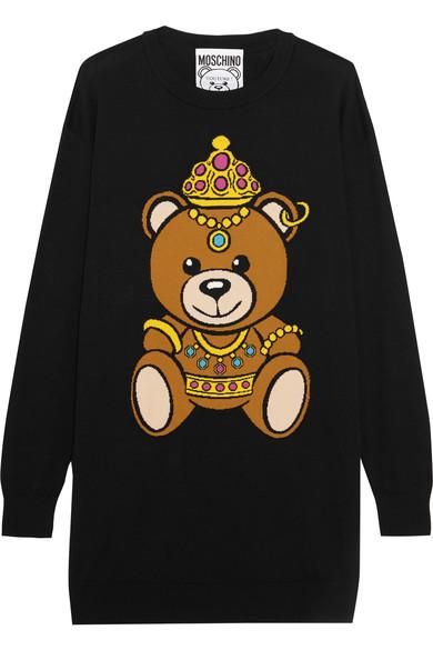 MOSCHINO INTARSIA COTTON-JERSEY TEDDY BEAR MINI SWEATER DRESS
