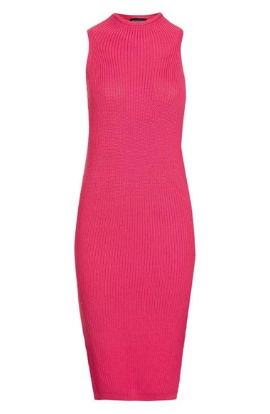 TOPSHOP HOT PINK BODY-CON SWEATER DRESS
