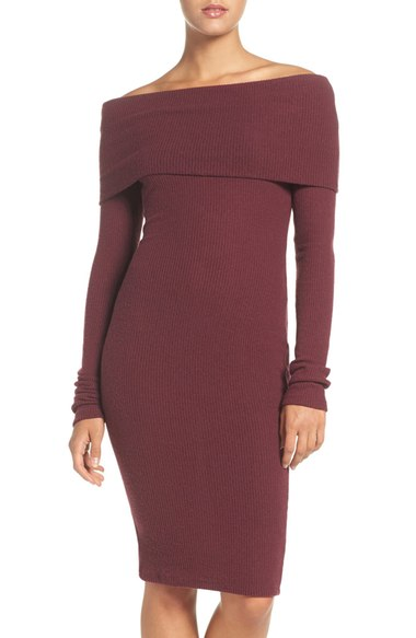 NSR OFF-THE-SHOULDER BODY-CON SWEATER DRESS