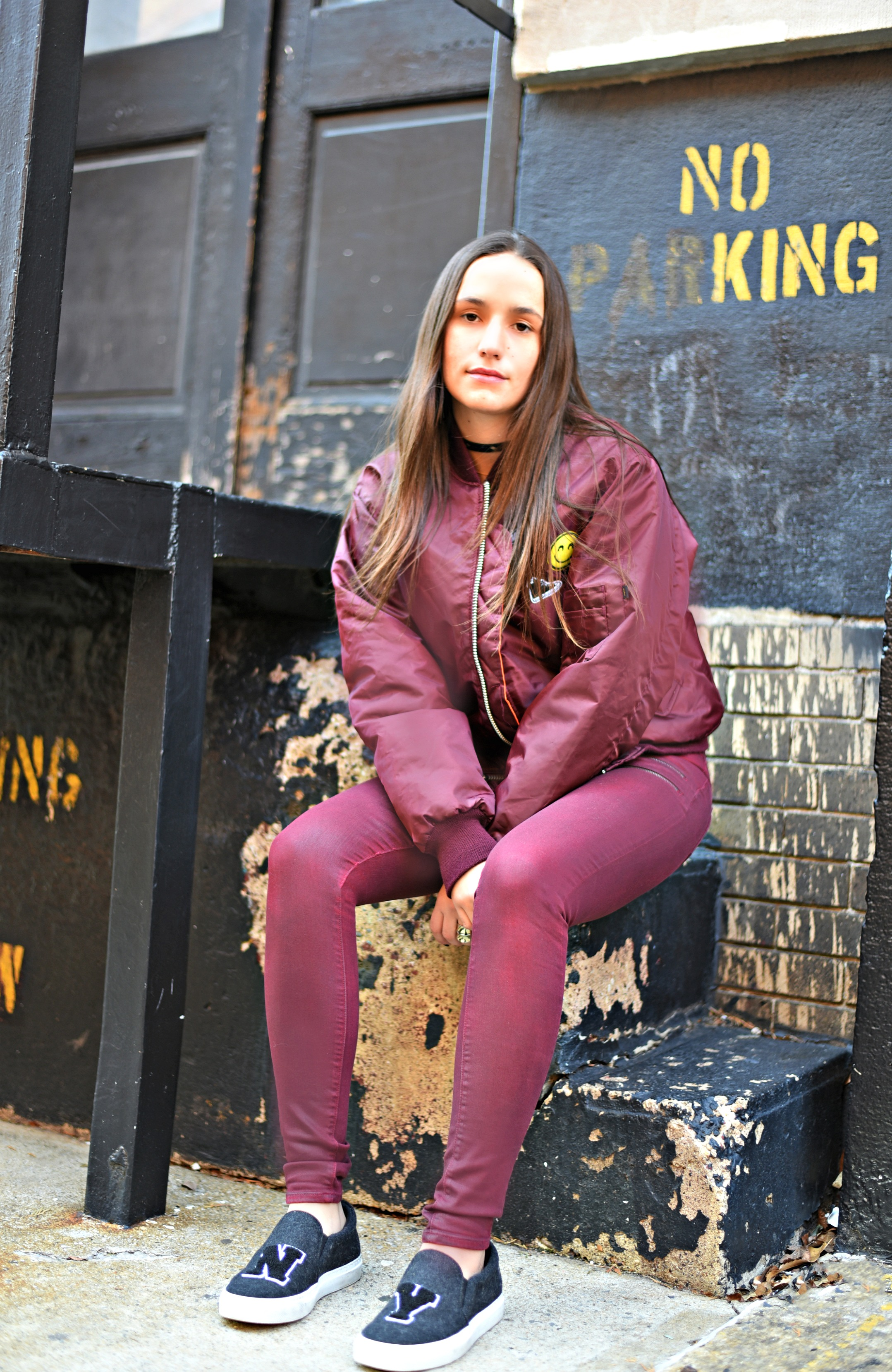 SOPHIE BICKLEY YIN 2MY YANG SISTER FASHION BLOGGERS NYC UNEMPLOYED DENIM PERSONALIZED BOMBER JACKET POST