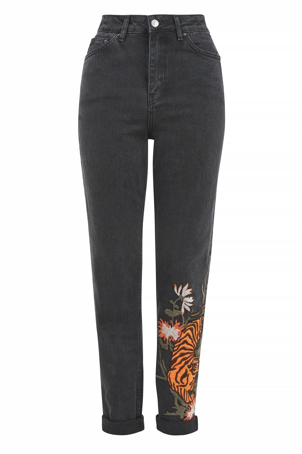 TOPSHOP MOTO TIGER EMBROIDERED MOM JEANS