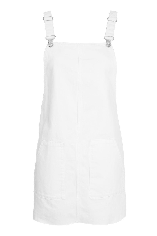 TOPSHOP MOTO WHITE PINAFORE DENIM DRESS