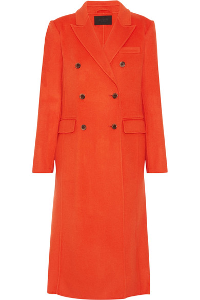 J. CREW COLLECTION ORANGE DOUBLE BREASTED WOOL COAT