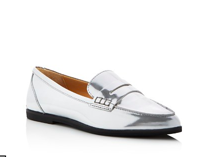 MICHAEL KORS METALLIC POINTED PENNY LOAFERS