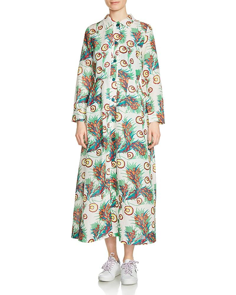 MAJE RAWAI PRINTED SHIRT DRESS