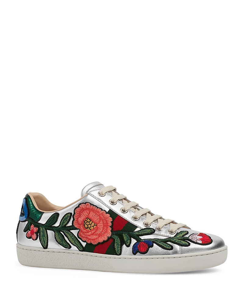. GUCCI 'NEW ACE' LOW TOP LACE UP METALLIC SNEAKER