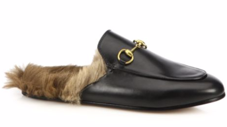 GUCCI PRINCETOWN FUR-LINED LOAFERS