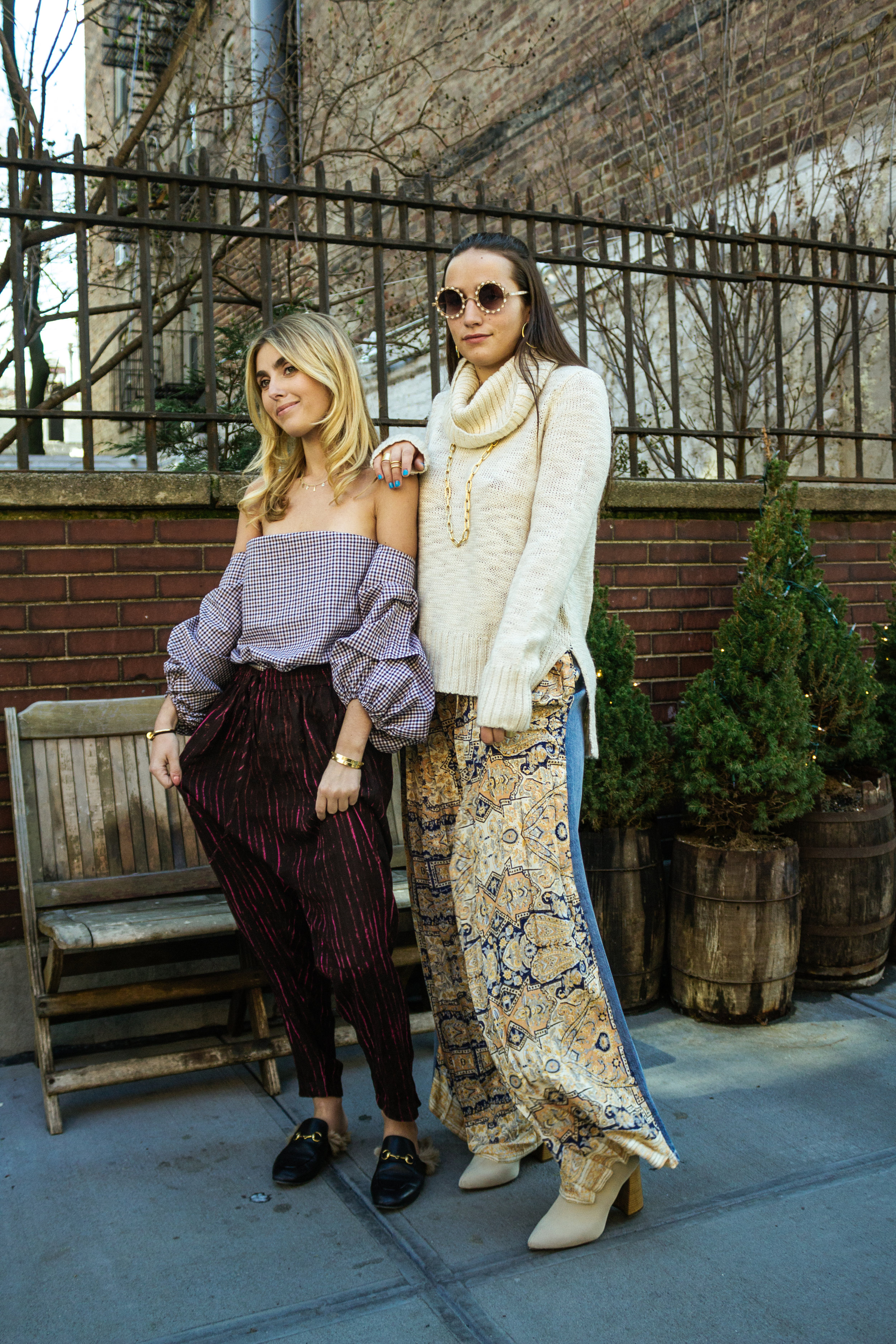 SOPHIE & CHARLOTTE BICKLEY YIN 2MY YANG SISTER FASHION BLOGGERS NYC FREE PEOPLE DANCE PARTY PANTS POST