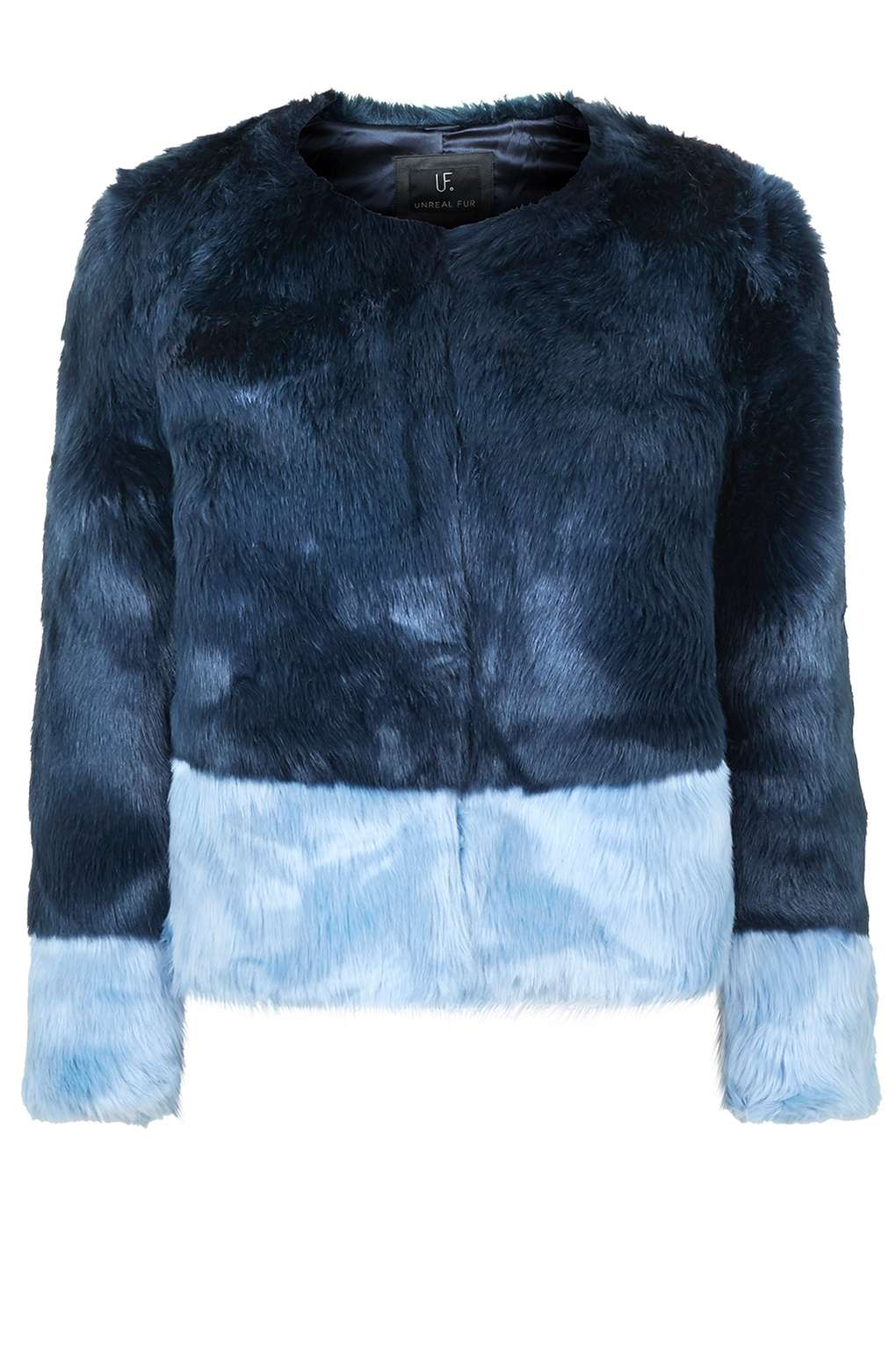 UNREAL FUR BLUE TWO-TONED JACKET