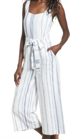 JOA CROP STRIPE COTTON JUMPSUIT