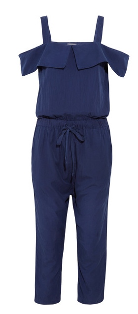 CLU CUTOUT SILK AND COTTON BLEND JUMPSUIT