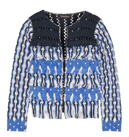 TABULA ROSA ANAT FRINGED MACRAME COTTON JACKET