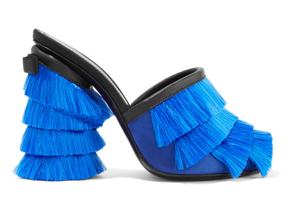 MARCO DE VINCENZO LEATHER TRIMMED FRINGED MULES