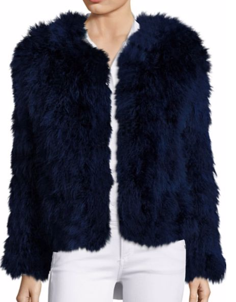 PELLY BELLO DARK BLUE CROPPED FEATHER COAT