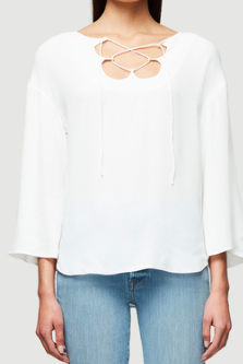 FRAME DENIM MIRRORED LACE UP BLOUSE