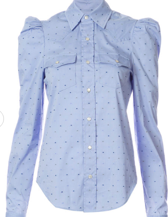 PETERSYN DOTTED PUFF SHOULDER SHIRT
