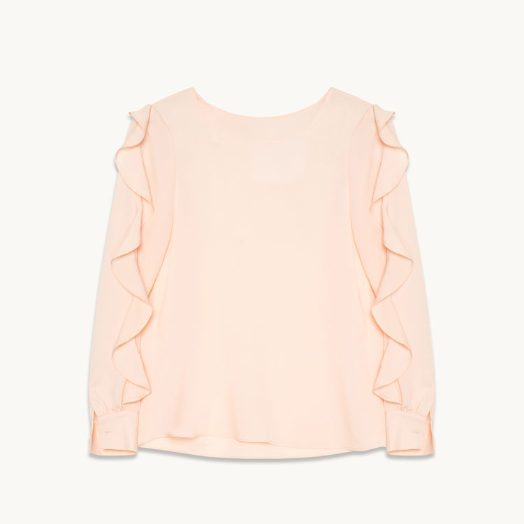 MAJE PALE PINK BLOUSE WITH RUFFLE SLEEVES