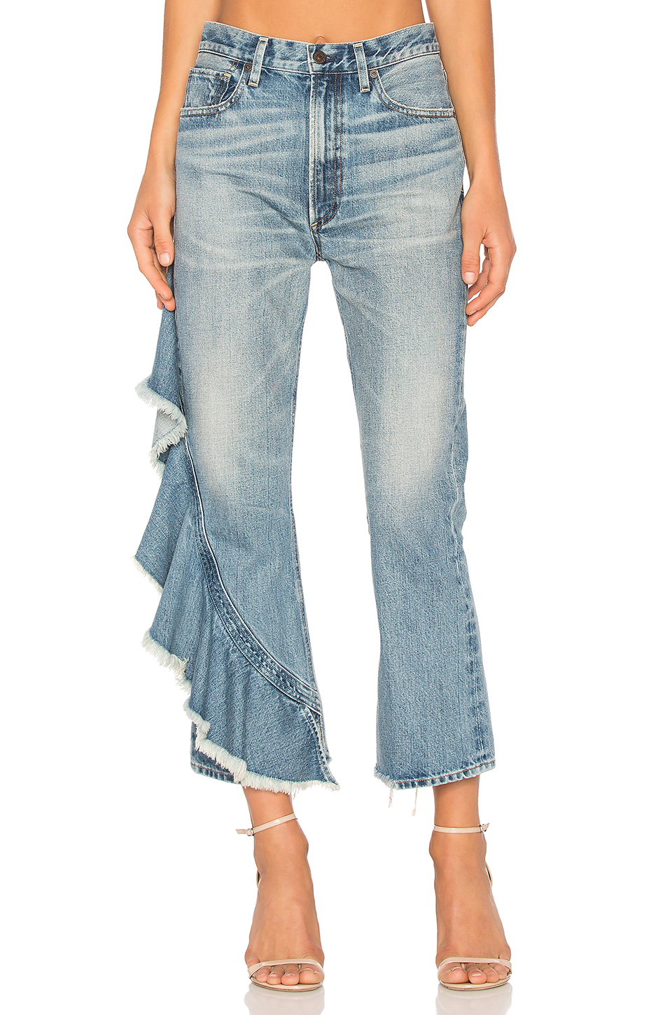 1.CITIZENS OF HUMANITY 'ESTELLA' SIDE RUFFLE JEANS