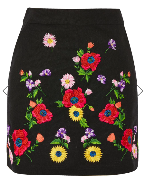 TOP SHOP 'FLORAL' EMBROIDERED MINI SKIRT