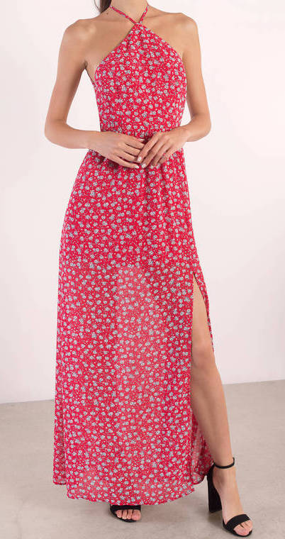 TOBI STAND OUT RED MULTI FLORAL MAXI DRESS