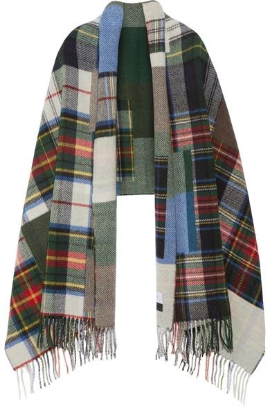 Holzweiler Fringe Plaid Wool Scarf
