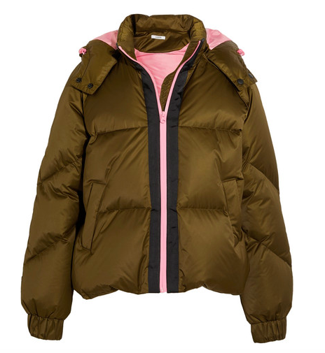 GANNI HOODED QUILTED SHELL DOWN JACKET