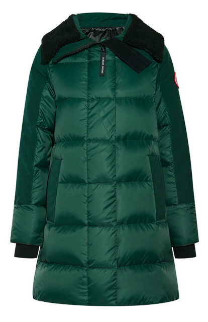 CANADA GOOSE ALTONA SHEARLING AND LEATHER QUILTED PARKA