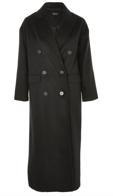 TOPSHOP BLACK DOUBLE BREASTED LONGLINE COAT
