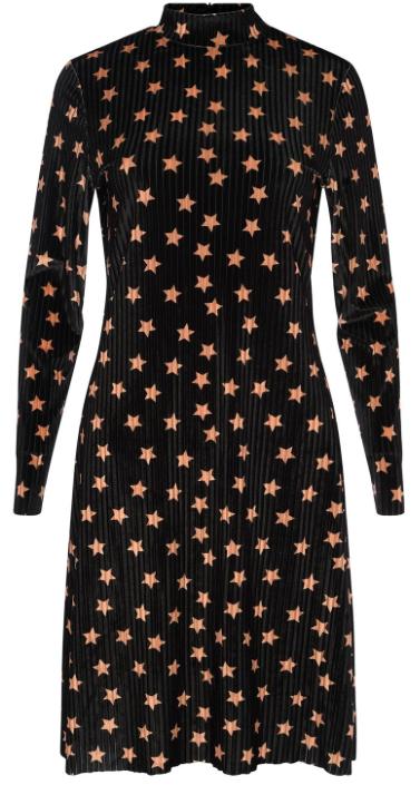 GLAMOROUS STAR VELVET MIDI SHIFT DRESS
