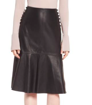 LEWIT BUTTON DETAIL A-LINE LEATHER SKIRT