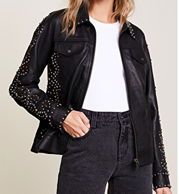SCOTH AND SODA STUDDED LEATHER JACKET