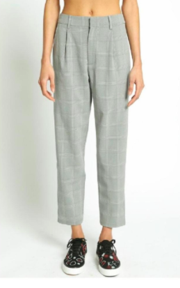 POLLY& ESTHER PLAID TROUSER PANT