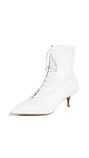 TABITHA SIMMONS WHITE KITTEN HEEL BOOTS