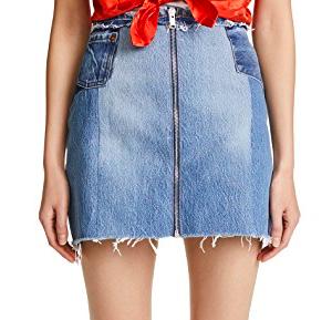 RE/DONE Raw Edge Zip Skirt