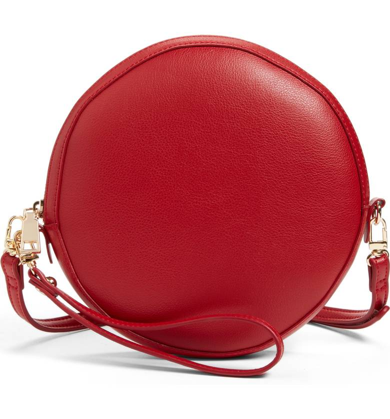 SOLE SOCIETY RED CIRCLE CROSSBODY BAG
