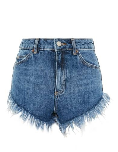 TOPSHOP HIGHWAISTED FRAY JEAN SHORTS