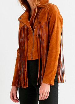 Urban Outfitters UO Suede Moto Fringe Jacket