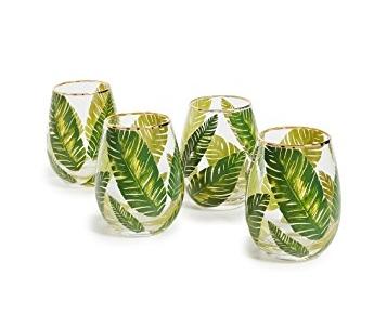 Gift Boutique Leaf Stemless Wine Glasses
