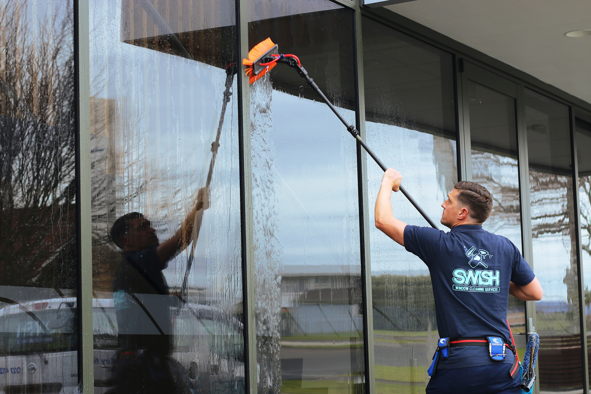 Commercial Window Cleaning - We at SWISH understand the complexities that are involved with Commercial Window Cleaning jobs, we are problem solvers and all our cleaners always act professionally and put 100% into their work. We are here to get your windows sparkling clean so you can concentrate on what you do best, in a premises that looks a million bucks!