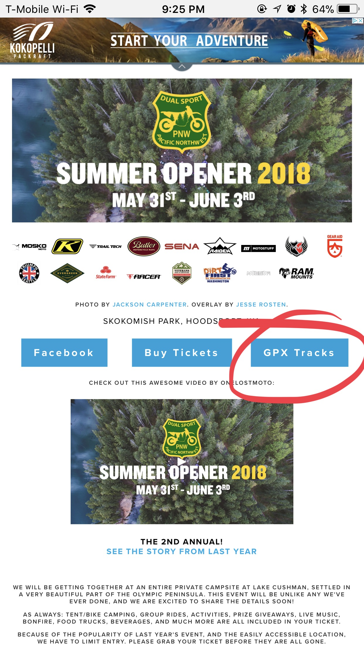 Find the GPX you want to download, like this one from our 2018 Summer Opener event.