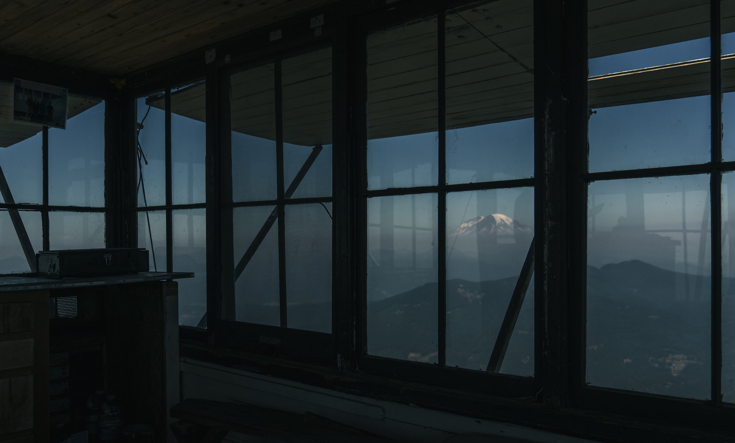 Mt Rainier from inside the lookout.