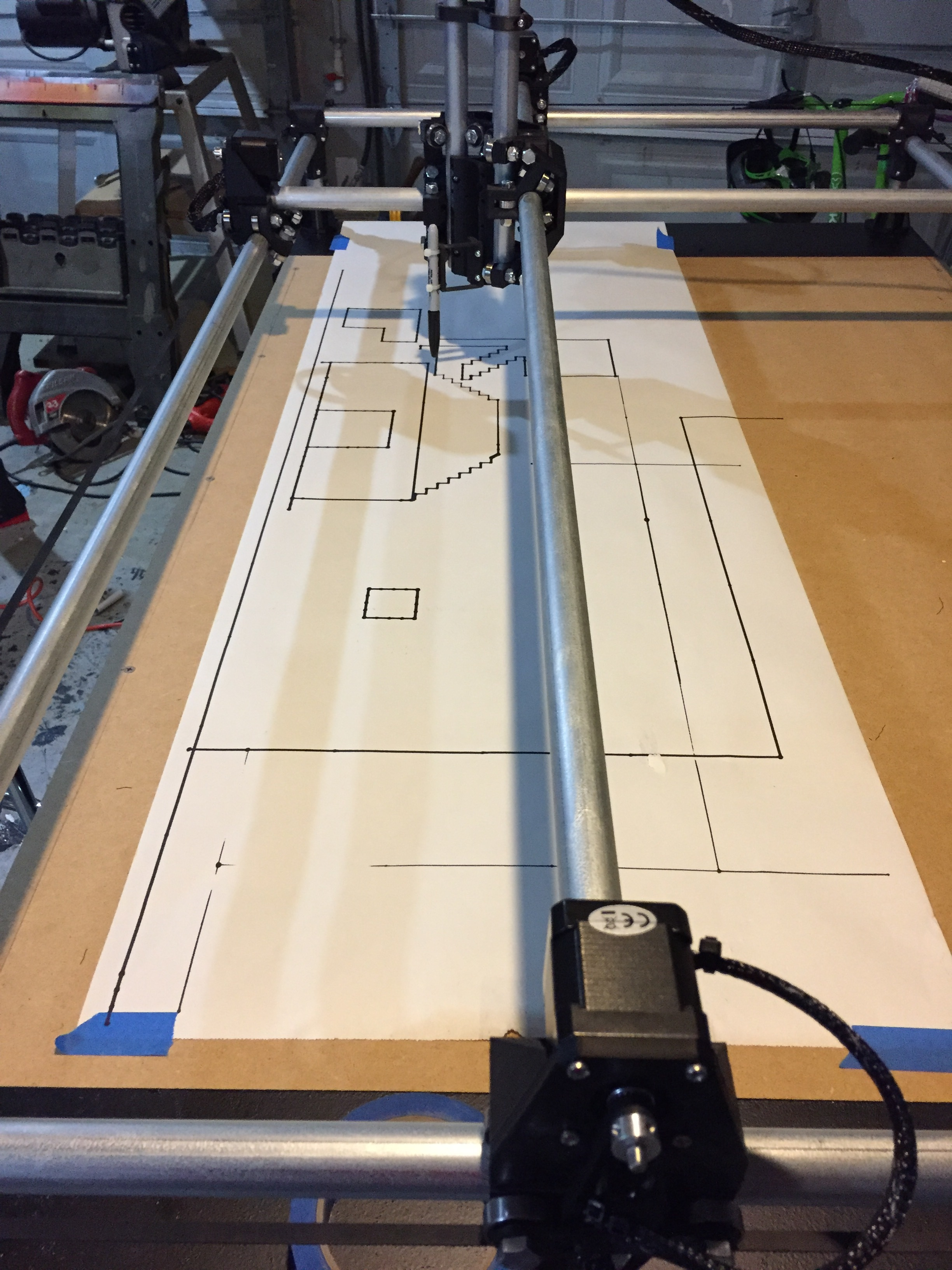 Testing the MPCNC with a pen attachment and a Sharpie.