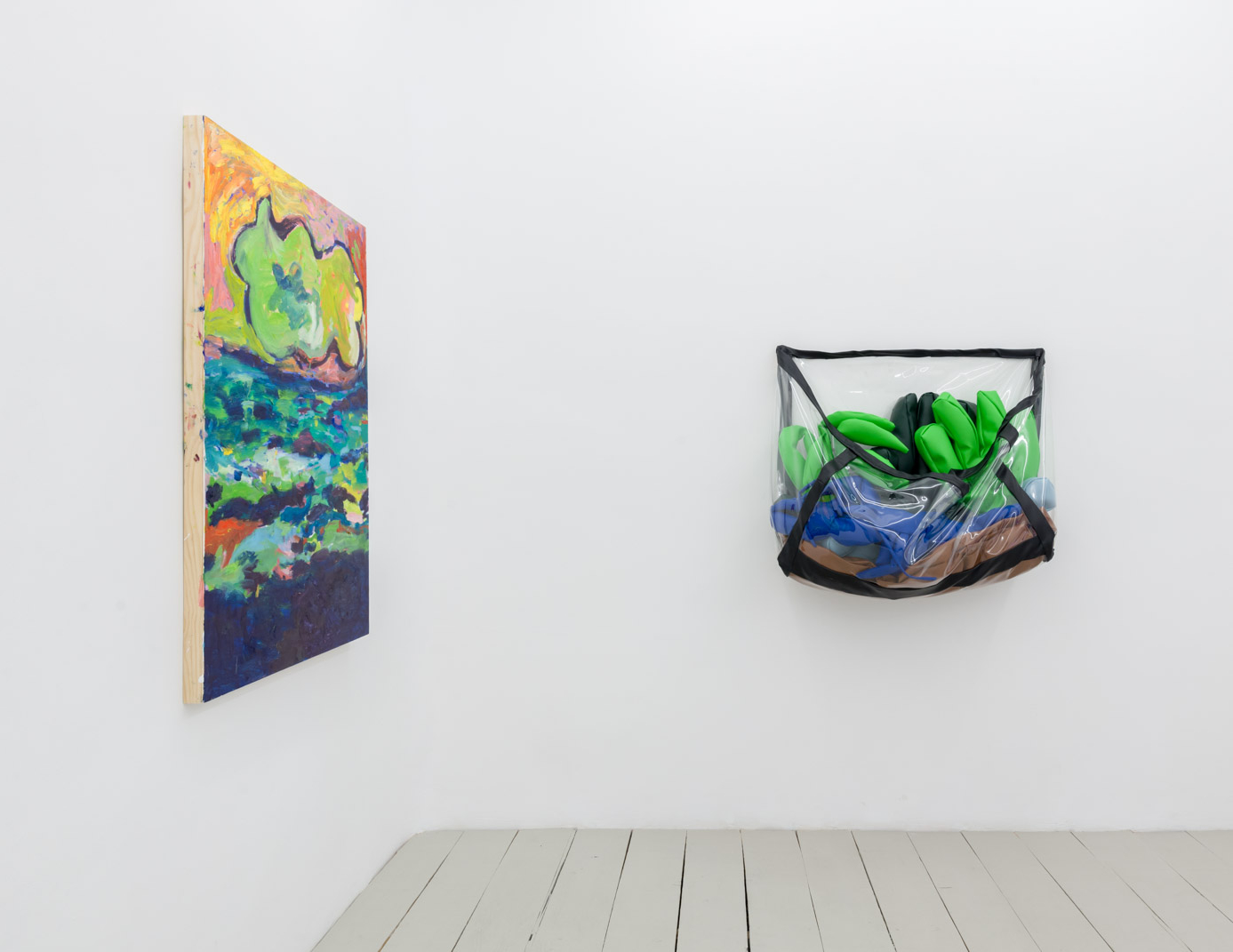 "Installation view of ""Flat Earthers"", Galeria Alegria"